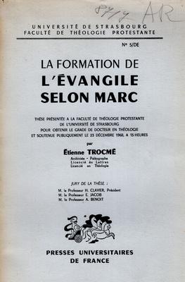 LA FORMAION L'EVANGILE SELON MARC
