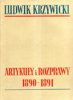 ARTYKUŁY I ROZPRAWY 1890 - 1891