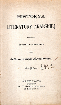 HISTORYA LITERATURY ARABSKIEJ