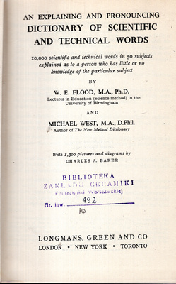 AN EXPLAINING AND PRONOUNCING DICTIONARY OF SCIENTIFIC AND TECHNICAL WORDS