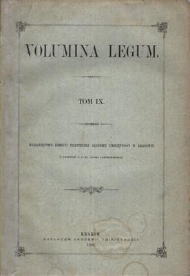 VOLUMINA LEGUM - TOM IX