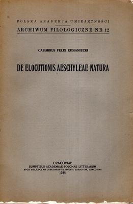 DE ELOCUTIONIS AESCHYLEAE NATURA