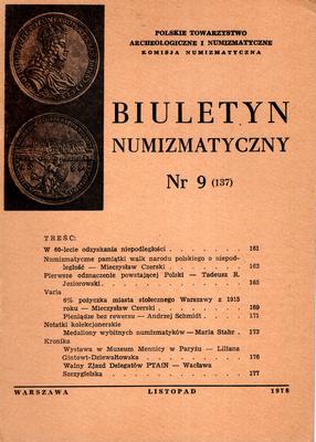 BIULETYN NUMIZMATYCZNY NR 9