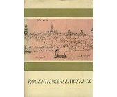 Szczegóły książki ROCZNIK WARSZAWSKI IX