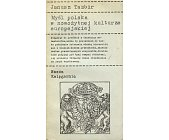 Szczegóły książki MYŚL POLSKA W NOWOŻYTNEJ KULTURZE EUROPEJSKIEJ
